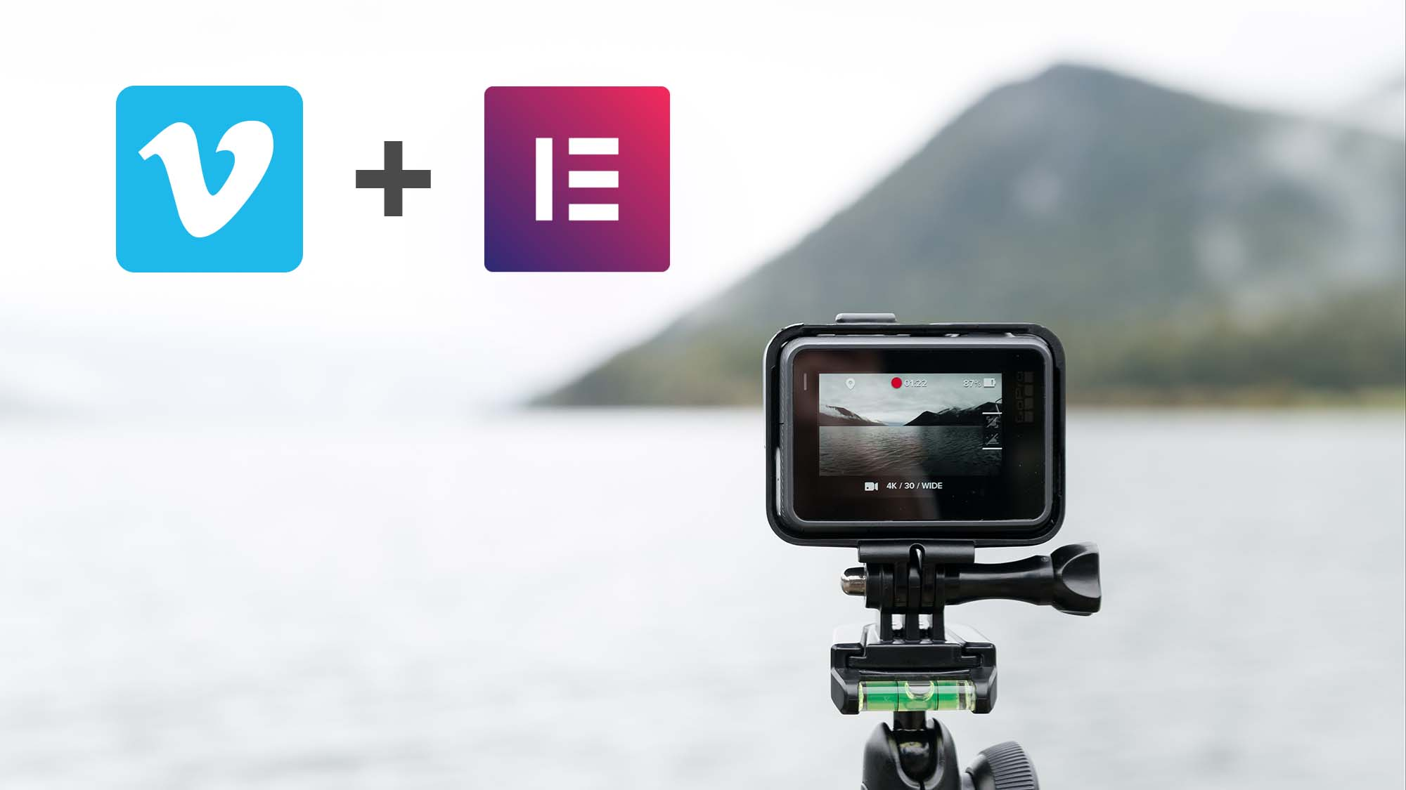 Vimeo and elementor icons next to video camera