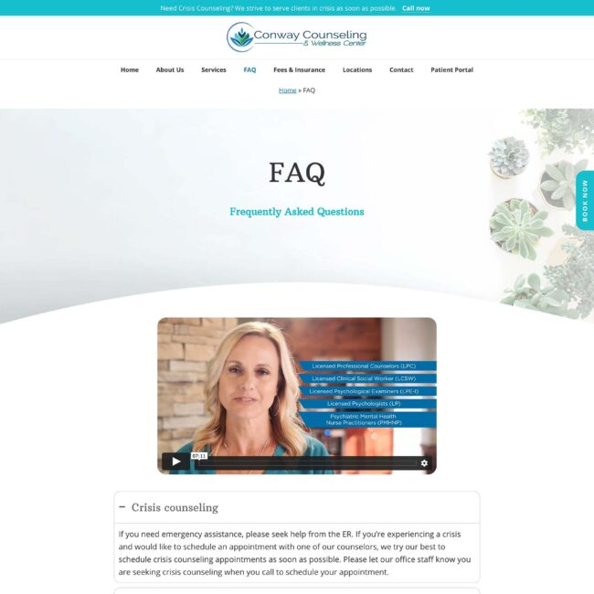 Conway Counseling and Wellness FAQ page