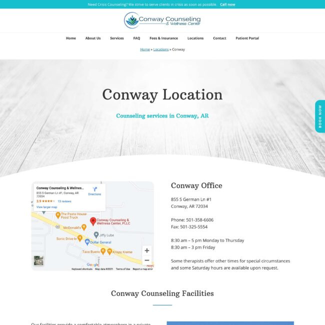 Conway Counseling and Wellness location page