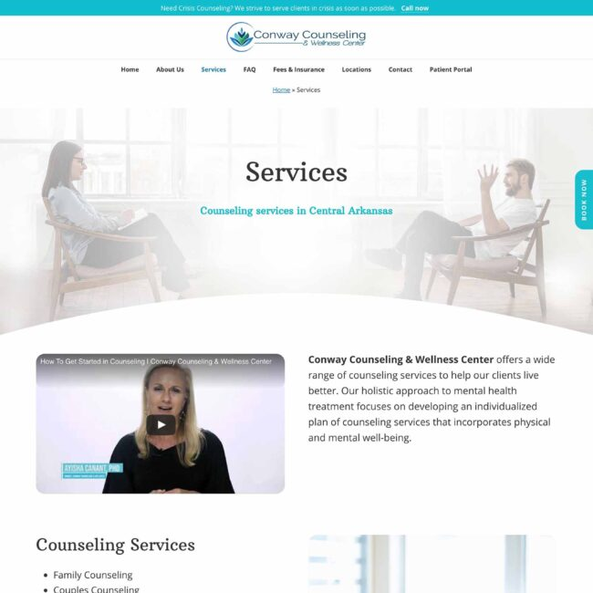 Conway Counseling and Wellness services page