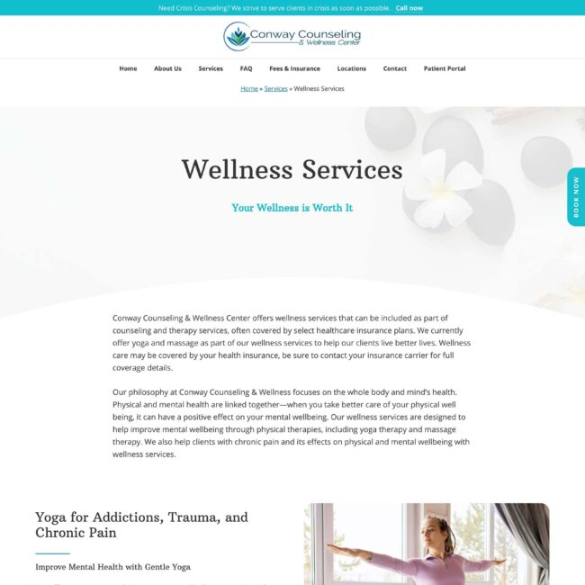 Conway Counseling and Wellness services sub-page
