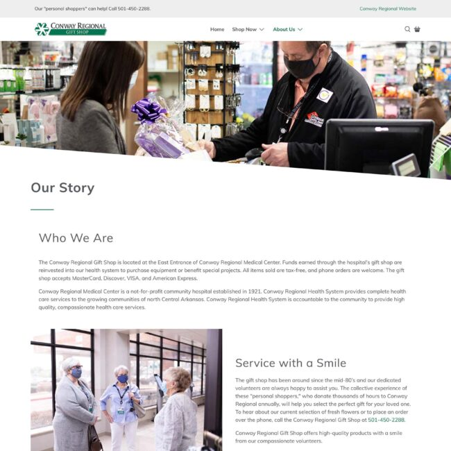 Conway Regional Gift Shop website Our Story page