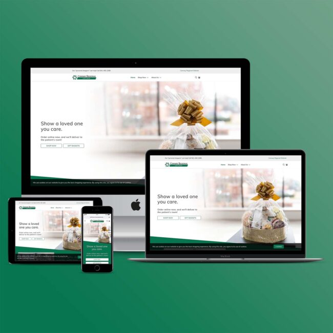 Conway Regional Gift Shop website on multiple devices
