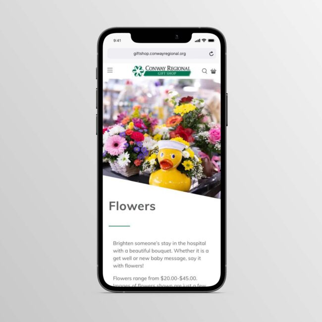 Conway Regional Gift Shop flower page on phone