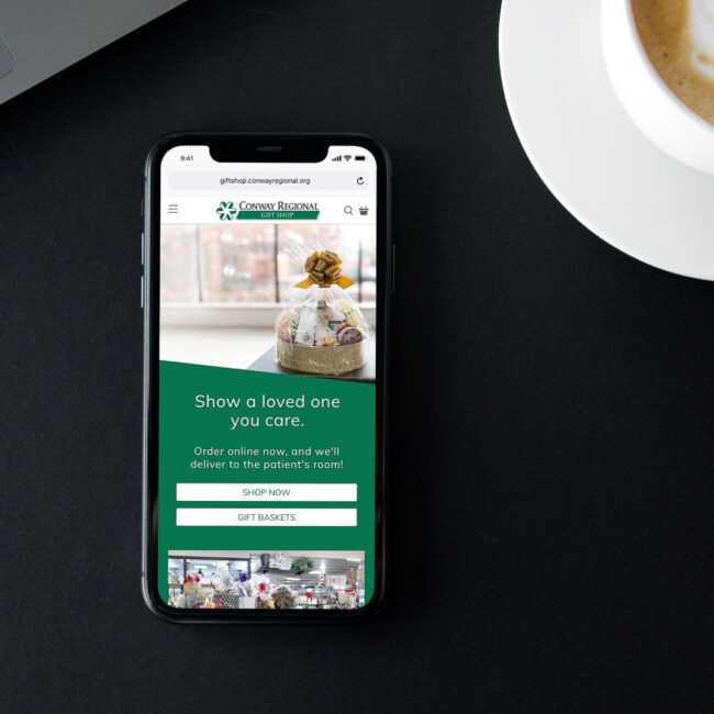 Conway Regional Gift Shop website on phone