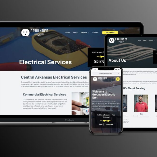 Grounded Electric website homepage on devices