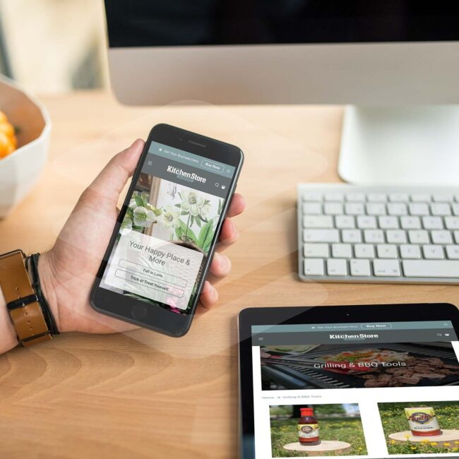 The Kitchen Store website on phone