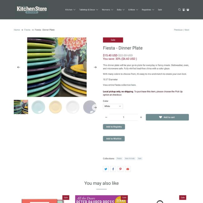 The Kitchen Store website product page