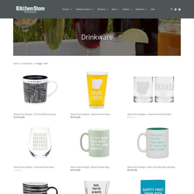 The Kitchen Store website products collection