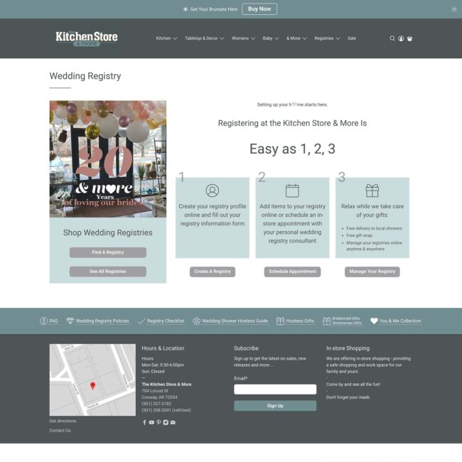 The Kitchen Store website registry page