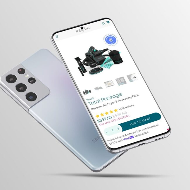 RevAir website product page on phone
